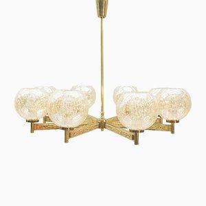 Lámpara de araña de 8 brazos de latón de Sciolari, años 60