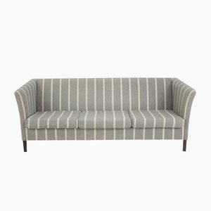 Vintage Grey Striped 3-Seater Sofa by Børge Mogensen, 1960s