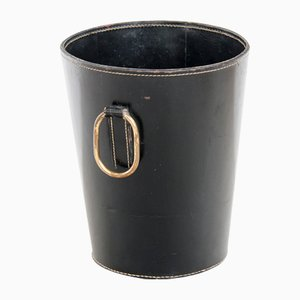 Mid-Century Leather Waste Paper Basket by Carl Auböck