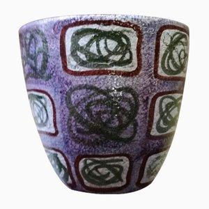 Vaso Cachepot in ceramica con disegno astratto, anni '50