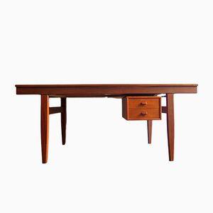 Vintage Teak Schreibtisch mit drehbaren Schubladen und 2 Verlängerungen
