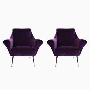 Italienische Armlehnsessel in violettem Samt, 1950er, 2er Set