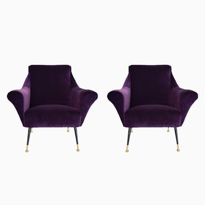 Violet Italian Velvet Armchairs, 1950s, Set of 2