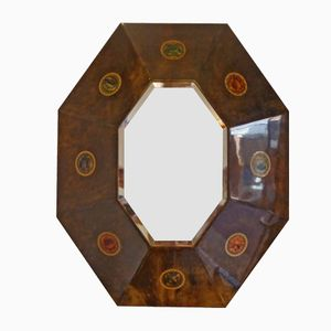 Italian Mirror in Varnished Parchment, 1970s