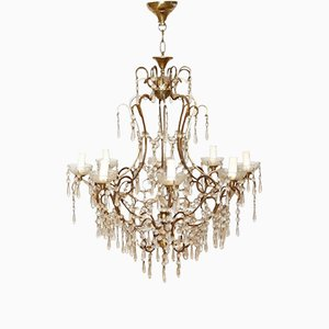 Vintage Gilded Bronze and Crystal Chandelier, 1940s