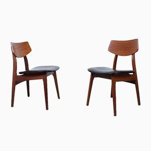 Esszimmerstühle in Teak & schwarzem Skai von Louis Van Teeffelen für WéBé, 1950er, 2er Set