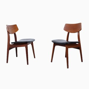 Teak and Black Skai Dining Chairs by Louis Van Teeffelen for WéBé, 1950s, Set of 2