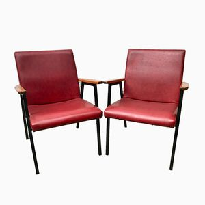 Red Vinyl Side Chairs, 1970s, Set of 2
