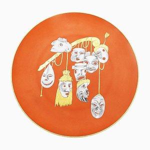 Piatto vintage surrealista in ceramica di Arrigo Finzi