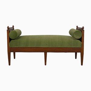 Banco o sofá cama de nogal, década de 1840