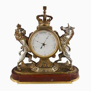 Royal Arms Tischuhr mit Aneroidbarometer, 1900er