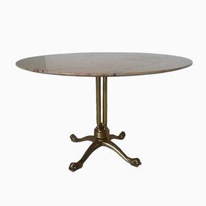 Runder Chiavarino Tisch aus Messing & Marmor, 1950er