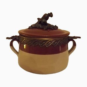 Vinage Vegetable Broth Tureen in Stoneware & Bronze