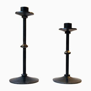 Brutalist Danish Steel & Bronze Candlesticks from Metal Kunst, 1970s, Set of 2