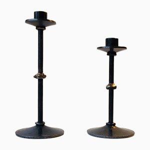 Brutalistische dänische Kerzenhalter aus Stahl & Bronze von Metal Kunst, 1970er, 2er Set