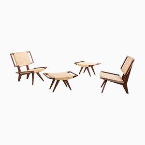 Vintage Easy Chairs & Ottomans by Paul László for Glenn of California, 1950s