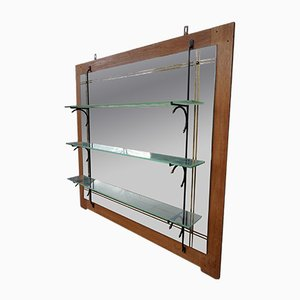 Vintage Mirrored Bar with Glass Shelves