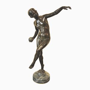 Art Deco Bronze & Marble Sculpture by Lucien Alliot, 1920s