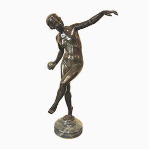Escultura Art Déco de bronce y mármol de Lucien Alliot, años 20