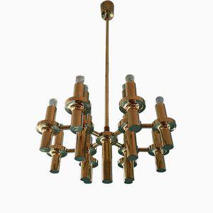 Brass Chandelier par Gaetano Sciolari, 1970s