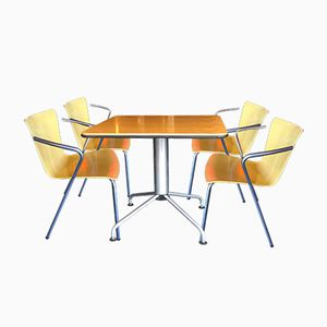 Bistro Table & 4 Chairs by Vico Magistretti for Fritz Hansen, 1990s