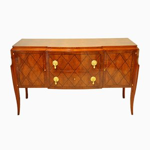 Amboyna Burl & Ebony Commode by Jean Pascaud, 1940s