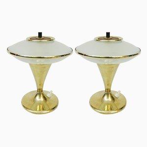 Lampade da tavolo Mid-Century in ottone, legno e vetro, set di 2