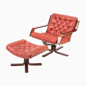 Mid-Century Red Leather Lounge Chair & Footstool