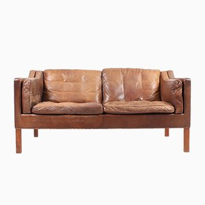 Mid-Century Patinated Leather Sofa by Børge Mogensen for Fredericia