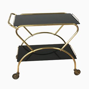 Brass Bar Cart with Black Glass Tops, 1950s