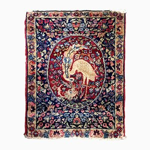 Antique Persian Handmade Kerman Lavar Rug, 1880s