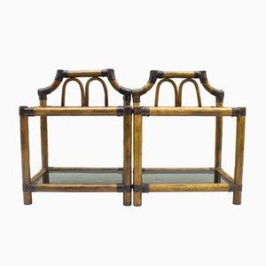 Tables de Chevet Vintage en Rotin & Cuir avec Verre Fumé, 1960s, Set de 2