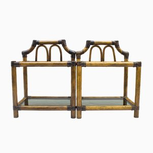 Vintage Rattan and Leather Nightstands with Smoked Glass, 1960s, Set of 2