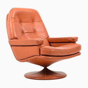 Scandinavian Swivel Lounge Chair in Leather, 1970s