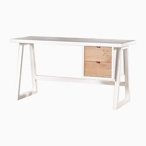 White and Oak 47 X Desk by Alon Dodo