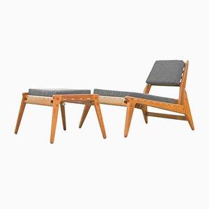 Deutscher Mid-Century Sessel & Fußhocker, 1960er