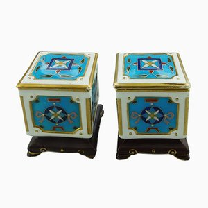 Miniature Porcelain Boxes by Christopher Dresser for Minton, 1880s, Set of 2