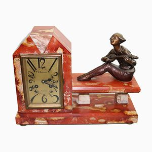 Art Deco 8-Day Striker Mantle Clock from M. Marchand, 1920s