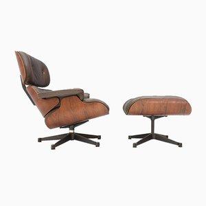 Sessel mit Fußhocker aus Palisander von Charles & Ray Eames für Vitra, 1970er