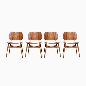 Dänische 155 Shell Chairs aus Teak & Eichenholz von Børge Mogensen für Søborg, 4er Set