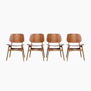 Danish 155 Shell Chairs in Teak & Oak by Børge Mogensen for Søborg, Set of 4