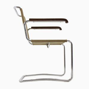 Sedia H164 Bauhaus in metallo cromato di Jindrich Halabala per UP Zavody, anni '30