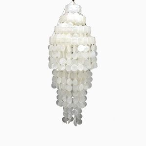 Hanging Lamp with Shell & Acrylic Discs, 1970s