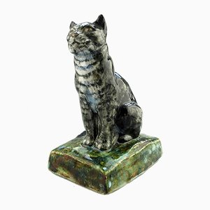 British Art Stoneware Pottery Cat by Stella R Crofts, 1931