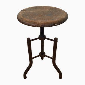 Antique Industrial Metal Work Stool with Spring