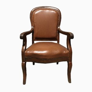 Vintage Armchair in Brown Skai