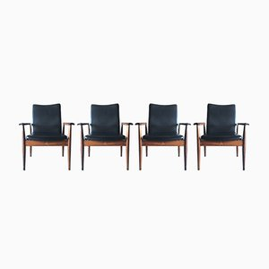 Vintage Diplomat Armchairs by Finn Juhl for France & Søn, Set of 4