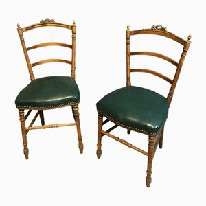 Vintage Side Chairs with Carved Frames, Set of 2