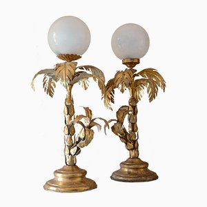 Vintage Palm Tree Table Lamps, Set of 2