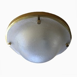 Brass & Murano Glass Flush Mount Ceiling Lamp from Limburg, 1970s